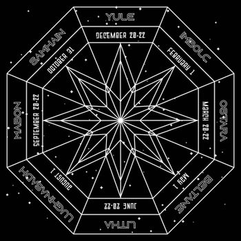 Geometric octagonal star in pagan wheel of the year on space background