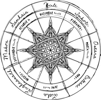 Entwined octagonal star in abstract pagan wheel of the year