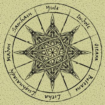 Entwined octagonal star in abstract pagan wheel of the year on textured old paper