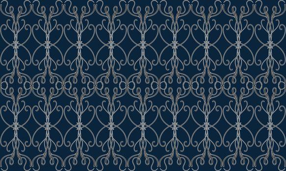 Elegant seamless pattern with grey filigree victorian tracery on dark blue background