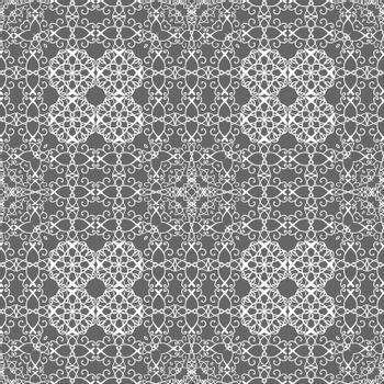 White elegant seamless lace pattern in oriental style on grey background