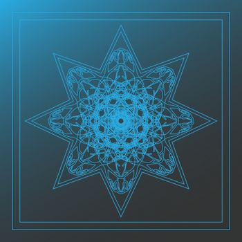 Blue lace octagonal star in double square on blurred background