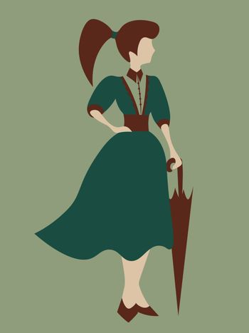 Old-fashioned faceless woman in green dress standing with an umbrella