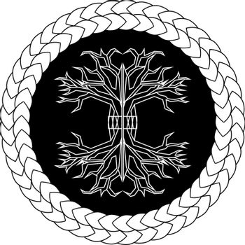 Contour old scandinavian pagan tree of life yggdrasil in knotted circle