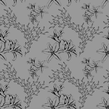 Elegant monochrome seamless pattern with black sketch lilies and abstract branches on grey background