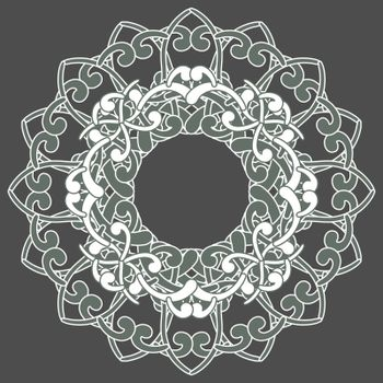 Contour celtic mandala in white color and halftones of green on grey background