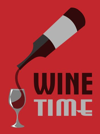 Old-fashioned poster with bottle of red wine pouring into glass on red background, text `wine time`