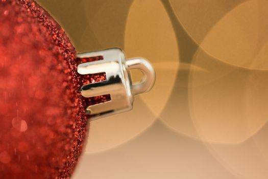 Close up of red christmas bauble