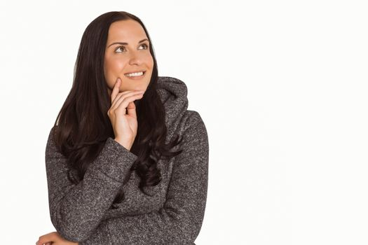 Smiling woman looking to distance