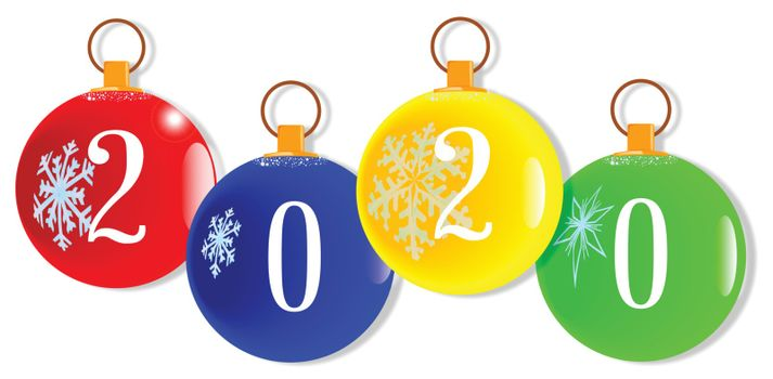 A red christmas decorative ball with the numbers 2020