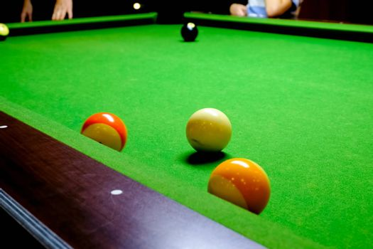 Green billiard table with balls. Close-up Balls on a billiard table.