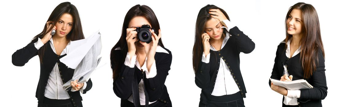 Set of young business woman working isolated on white background. Many tasks concept, secretary