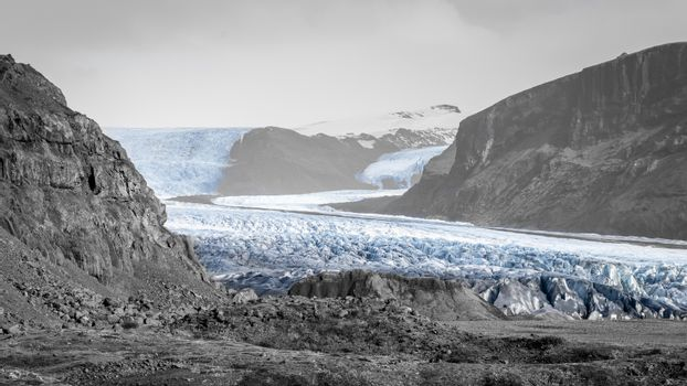 Vatnajoekull glacier in Iceland eternal ice fine art print in black and white with blue accent color