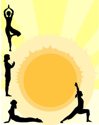 Four women performing a yoga asana against the rising sun.