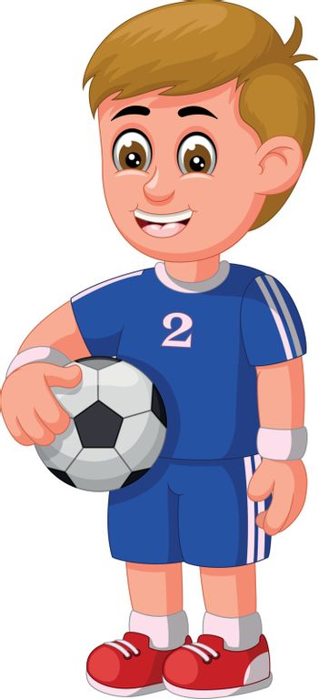 Cool Football Soccer Player Man In Blue Uniform Cartoon for your design