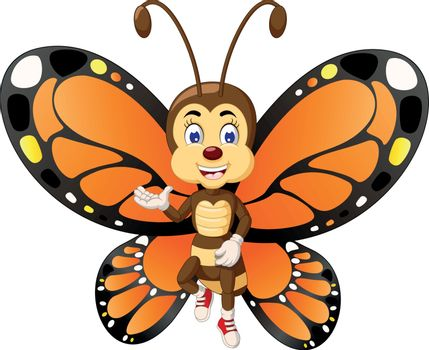 Brown Butterfly Flying Cartoon