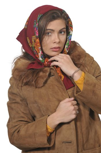 Russian woman wearing a traditional head scarf