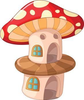 Red Brown Mushroom House Cartoon