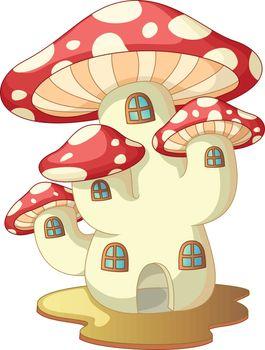 Red White Mushroom House Cartoon