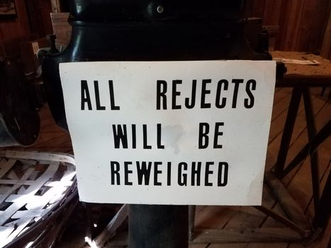 sign saying all rejects will be reweighted