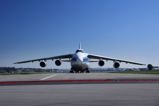 Antonow An 124 landing and off loading and taking off in Switzerland