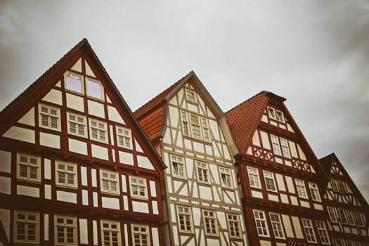 Cute historical half-timbered houses in downtown of Melsungen, Germany.