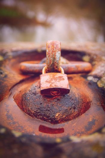 Close up of a rusty padlock locked around an aged rusty iron ring in a puddle of water. Time and aging concept.