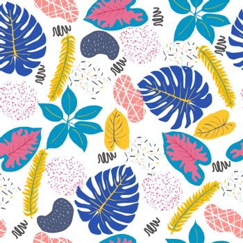 Creative universal floral background with Tropical leaves, abstract shapes. Seamless pattern in Trendy Graphic style.
