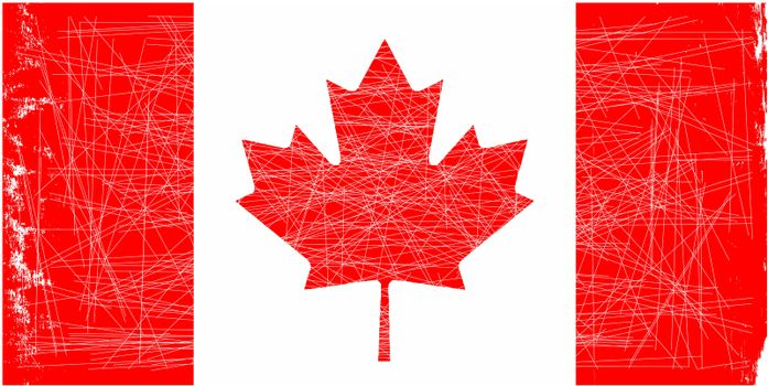 The canadian flag with a light grunge effect