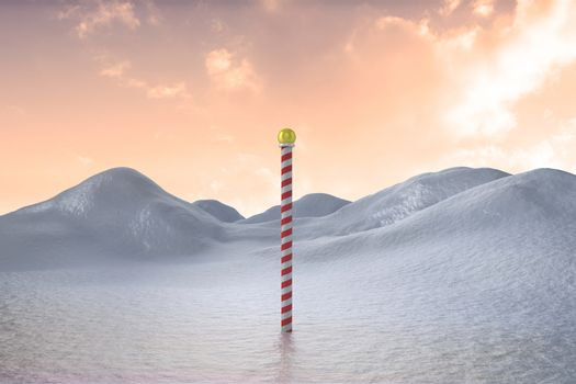 Snowy land scape with pole