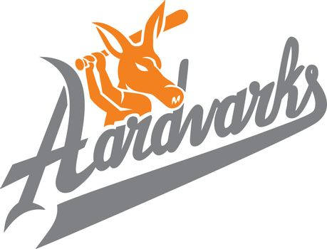 "Mascot icon illustration of an aardvark baseball player with bat batting with script text ""Aardvarks"" viewed from side on isolated background in retro style."