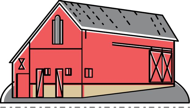 Mono line illustration of a red farm house, farmhouse or barn building viewed from side done in monoline style.