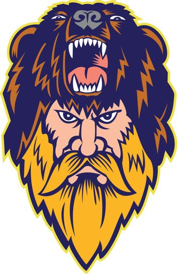 Mascot icon illustration of head of a berserker or bear warrior wearing bear skin viewed from front  on isolated background in retro style.