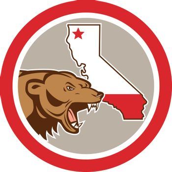 Illustration of an angry grizzly brown bear head viewed from the side  with California State map set inside circle on isolated background done in cartoon style.