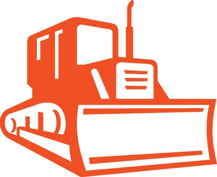 Icon retro style illustration of red bulldozer, excavator or construction heavy equipment viewed from front on isolated background.