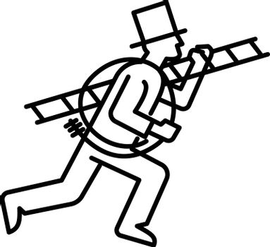Mono line illustration of a chimney sweep or sweeper, a person who clears ash and soot from chimneys, carrying a ladder and boiler brush done in monoline black and white style.