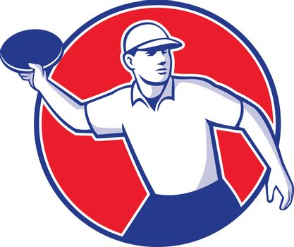 Mascot icon illustration  of an disc golf player throwing a flatball or frisbee set inside circle shape viewed from side on isolated background in retro style.