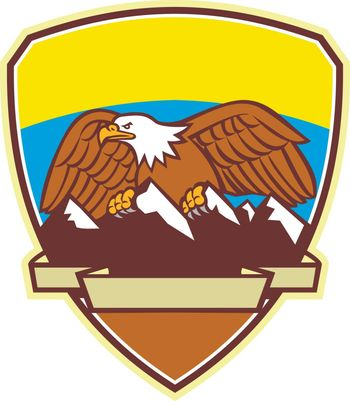 Mascot icon illustration of an American Bald Eagle perching on top of snow capped mountain range set inside crest or shield viewed from front on isolated background in retro style.