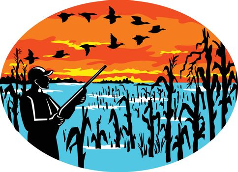 Mascot icon illustration of a duck hunter with rifle in flooded cornfield shooting at a formation of geese viewed from side set inside oval on isolated background in retro style.