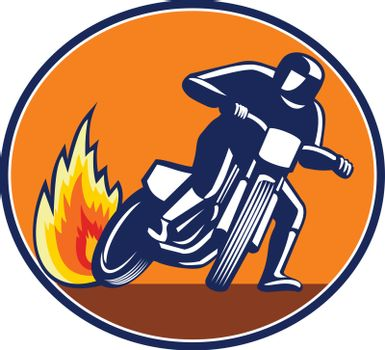 Mascot icon illustration of a motorcycle rider riding bike, flat track racing or dirt track racing viewed from front set inside oval shape on isolated background in retro style.