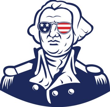 Mascot icon illustration of head of American president and founding father, George Washington wearing sunglasses with USA flag stars and stripes viewed from front on isolated background in retro style.