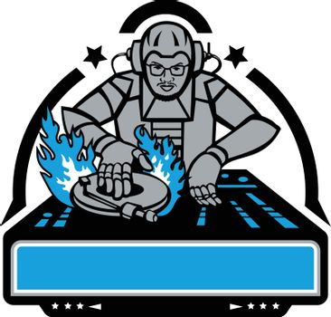 Mascot icon illustration of a futuristic African American disc jockey, dj ordeejay scratching turntable on fire  viewed from front on isolated background in retro style.