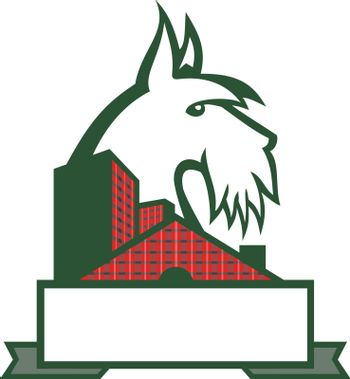 Sports mascot icon illustration of head of a Scottish Terrier, Aberdeen Terrier or Scottie dog viewed from side with tartan plaid cladded building or house on isolated background in retro style.