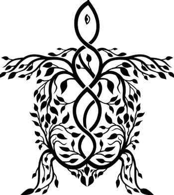 Celtic knot stylized  illustration of a sea turtle done in plait work or knotwork woven into unbroken cord design.