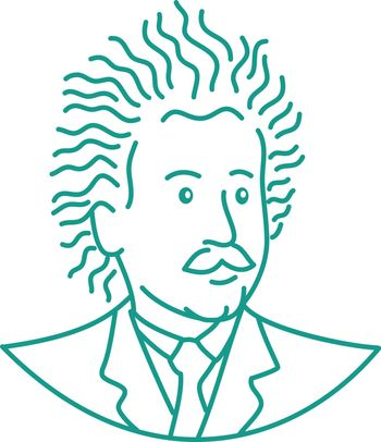 Mono line illustration of a nerdy scientist with frizzy curly hair viewed from front done in monoline style.