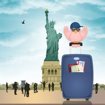 girl travel in New York