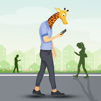 concept of the man with an elongated neck for a mobile phone