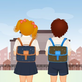 illustration of boy and girl back to school