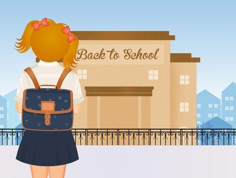 illustration of girl back to school