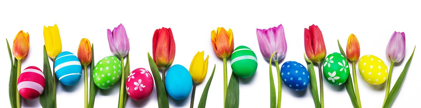 Hand-painted easter eggs with tulips isolated on white background in a row with copy space for text